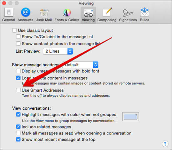 Uncheck Use Smart Addresses Option in Mac Mail App