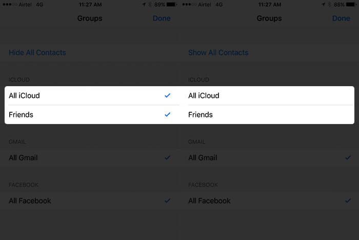 Uncheck iCloud Contacts in Phone App on iPhone