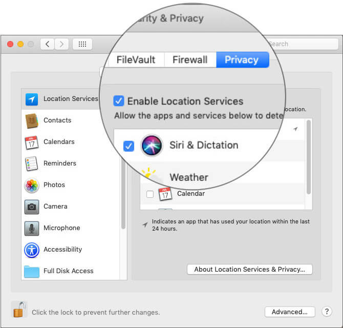 Uncheck the Enable Location Services option in macOS Mojave