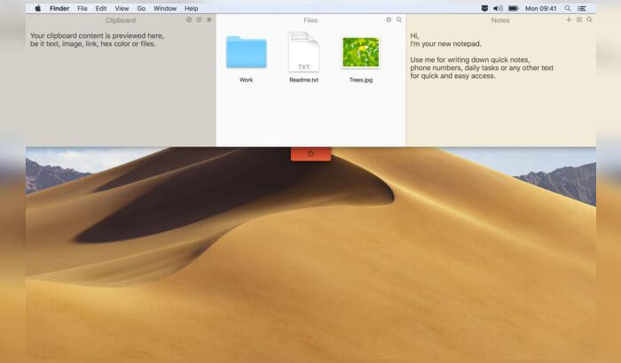 Снимок экрана приложения Unclutter Mac Note