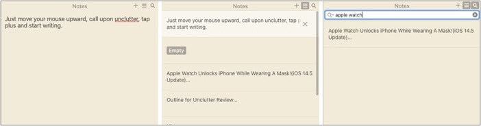 Unclutter Notes as sticky notes on Mac