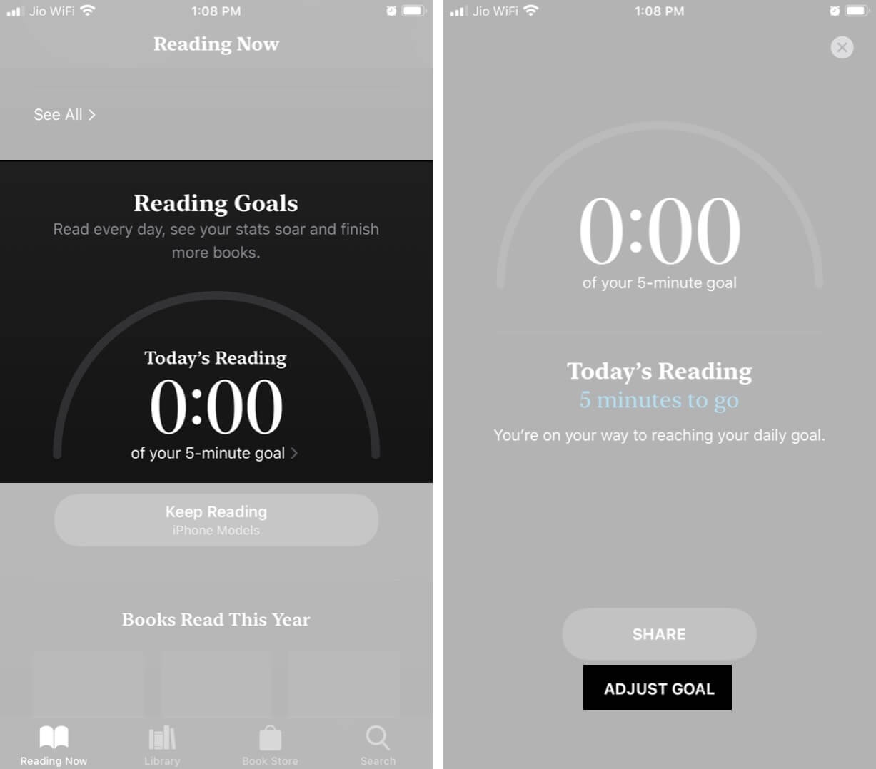 Under Reading Goals and Tap on Today's Reading and Then Tap on Adjust in iPhone Books App