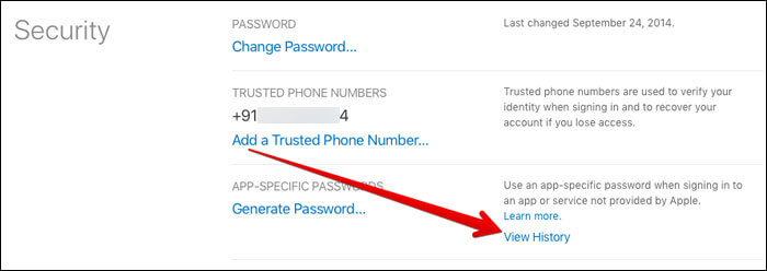 Under the App-Specific Passwords section, you need to select View History