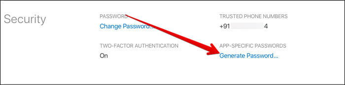 Under the security section, select Generate Passwords