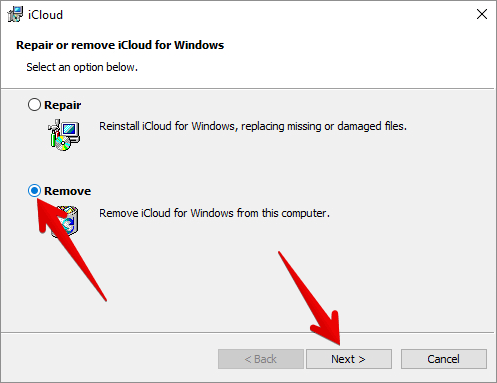 Uninstall iCloud from Windows PC