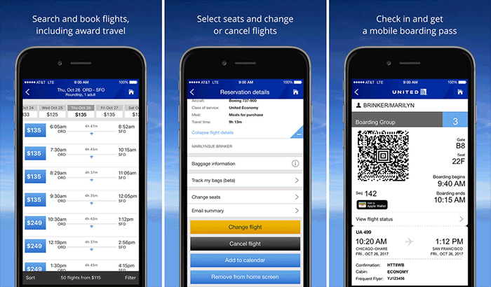 United Airlines iPhone App Screenshot