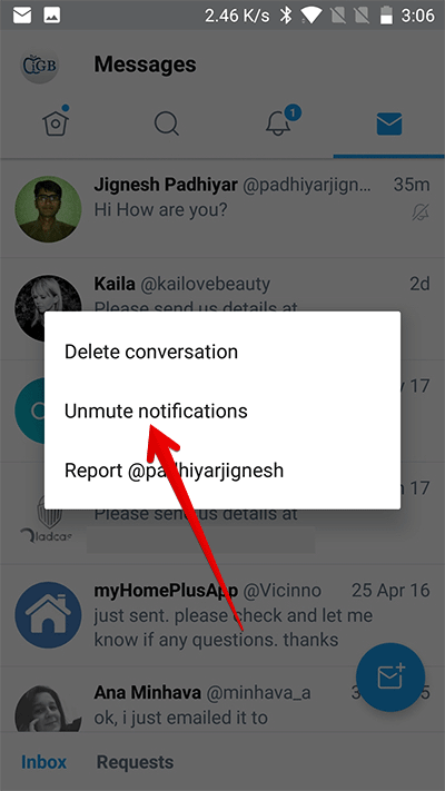 Unmute Direct Message Notifications on Twitter on Android Phone