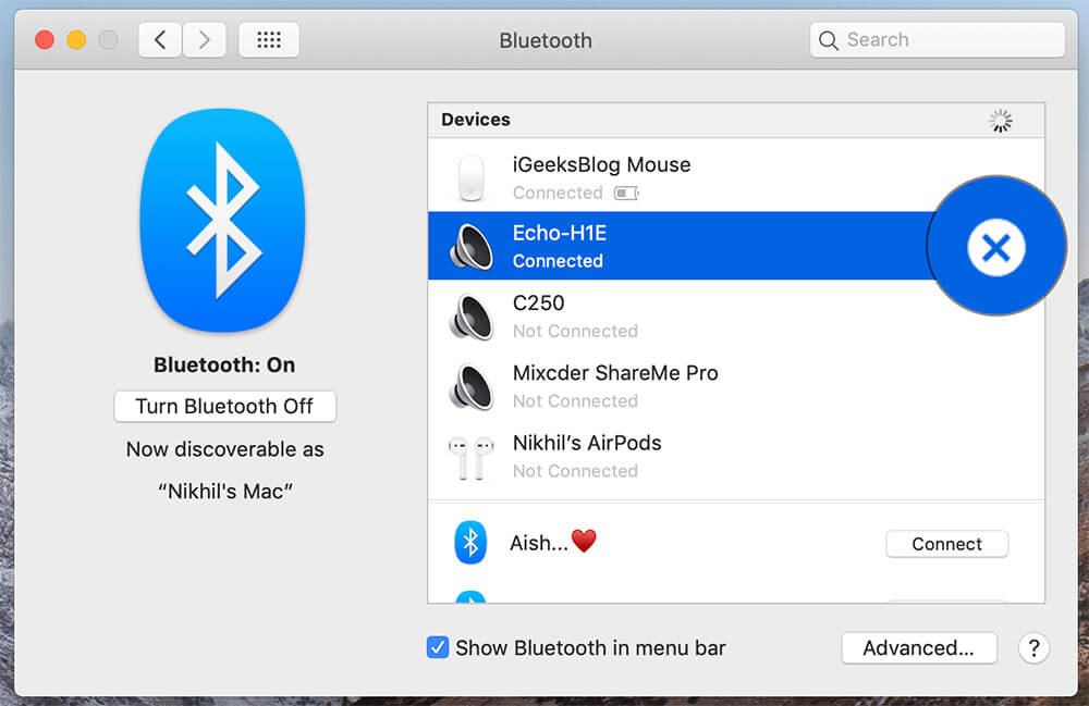 Unpair Your Bluetooth Device in Mac