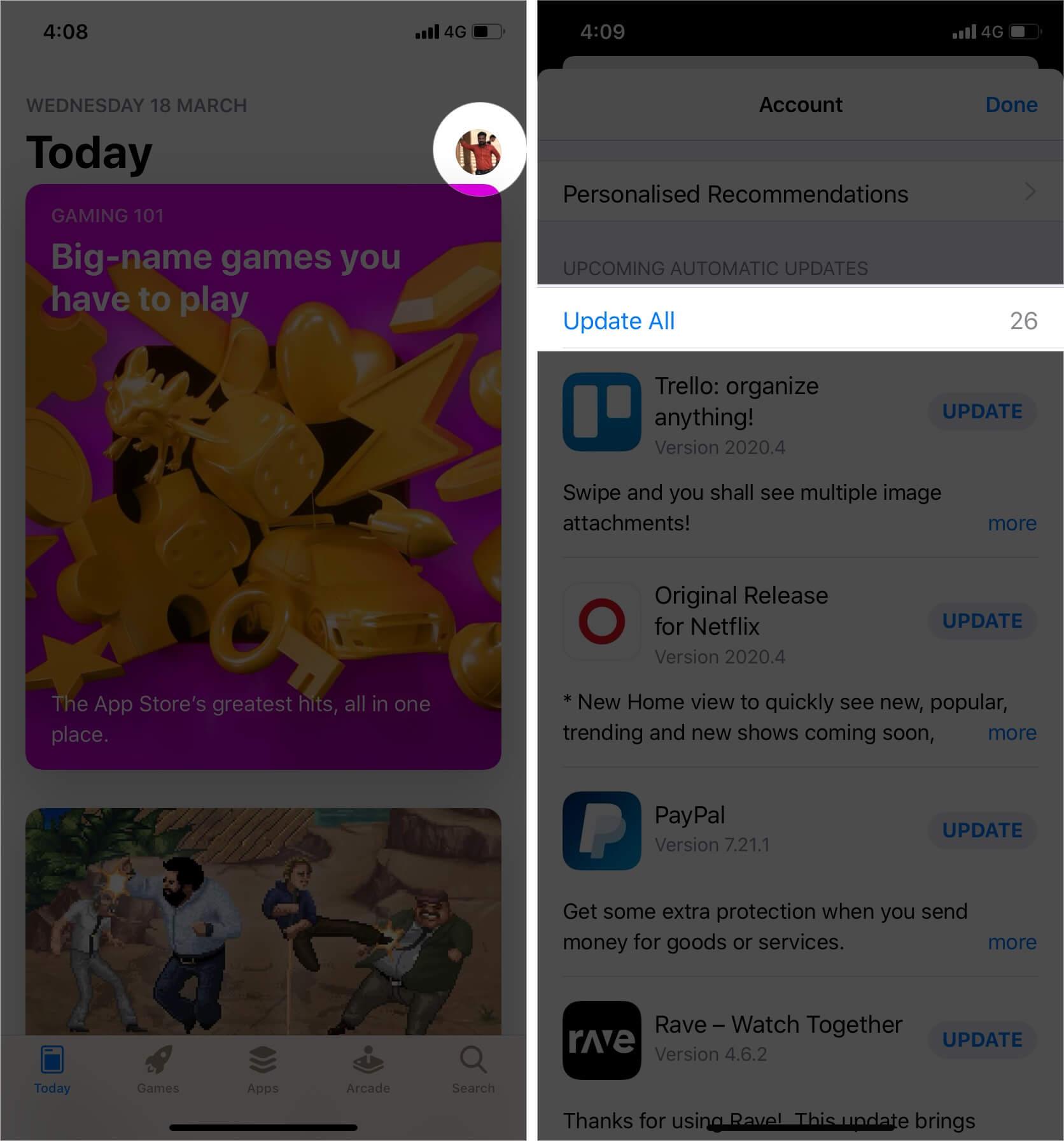 Update App from App Store in iOS 13