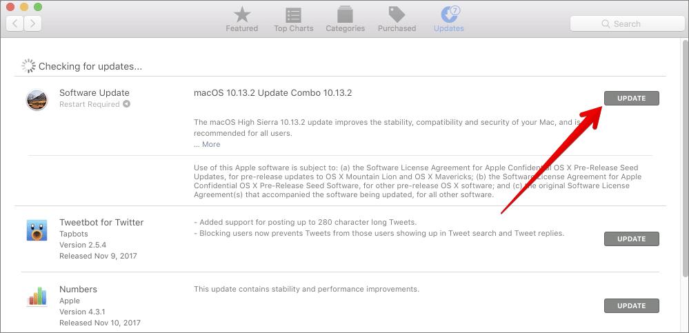 Update OS on Mac