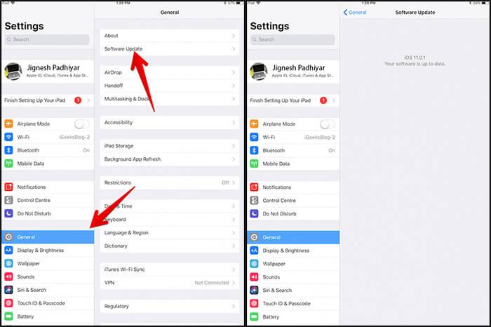 Update iOS on iPad