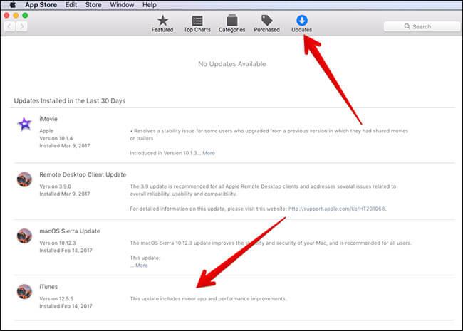 Update iTunes using Mac App Store