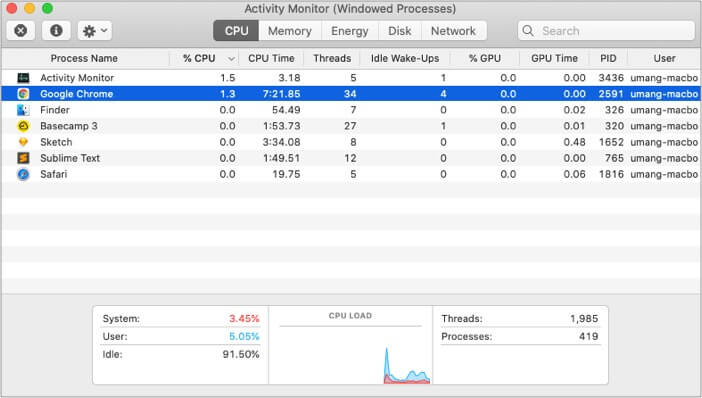 Use Activity Monitor to improve battery life on M1 Mac