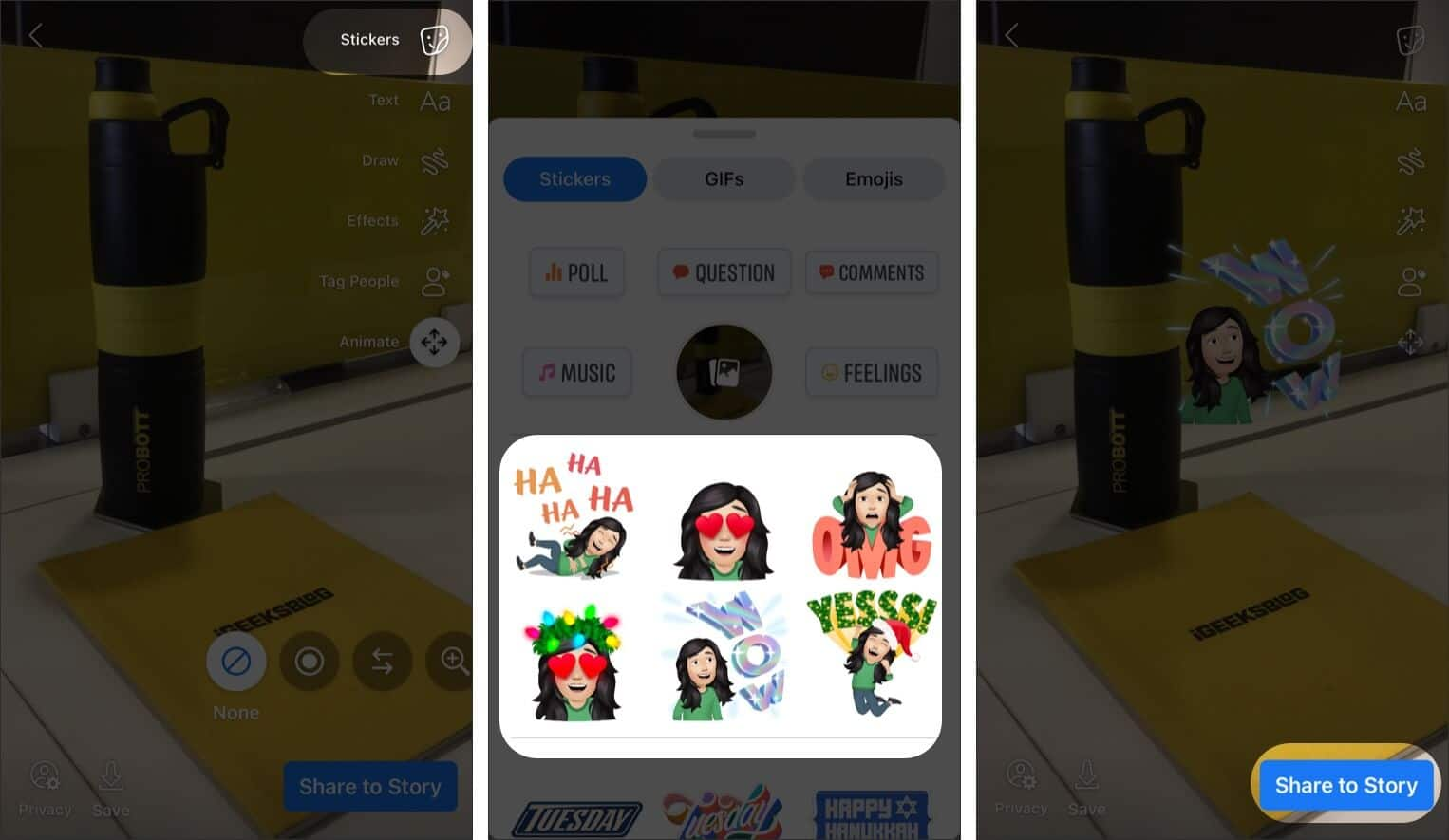 Use Avatars in your Facebook Stories