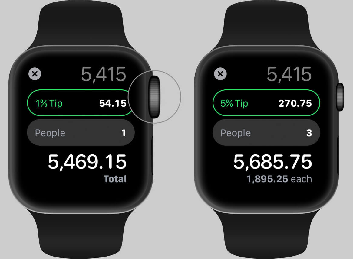 Use Calculator App for Tip on Apple Watch in watchOS 6
