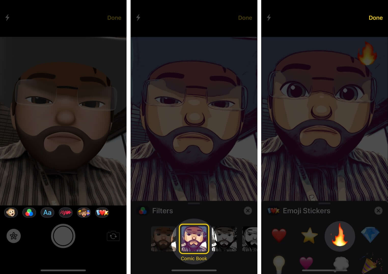 Use Camera Effects with Memoji on iPhone