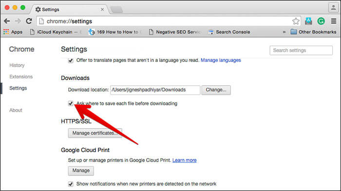 Use Different Download Location in Chrome on Mac