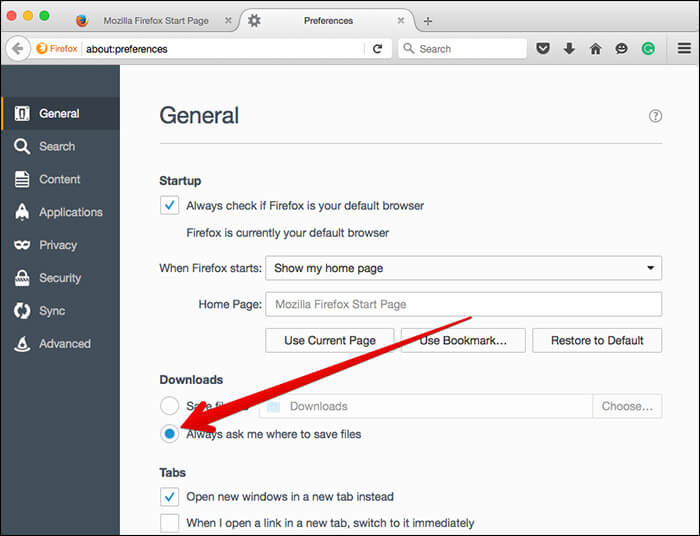 Use Different Download Location in Mozilla on Mac