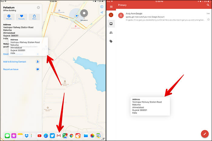 Use Drag and Drop in iOS 11 Maps App on iPad