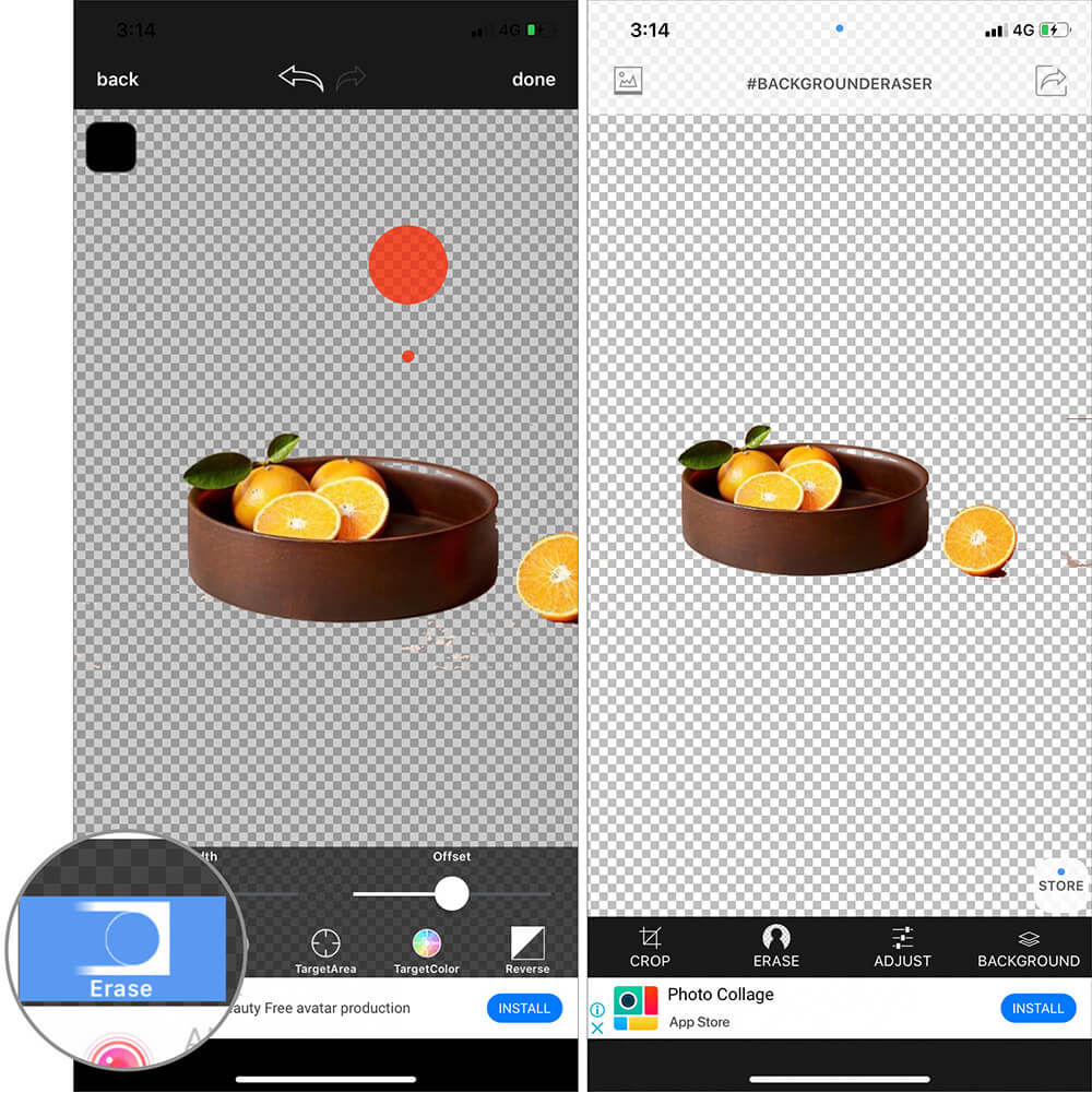 Use Erase Tool to manually remove any extra background around Image on iPhone