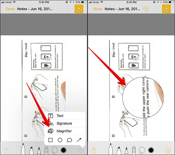 Use Magnifier Glass in Notes App in iOS 11 on iPhone