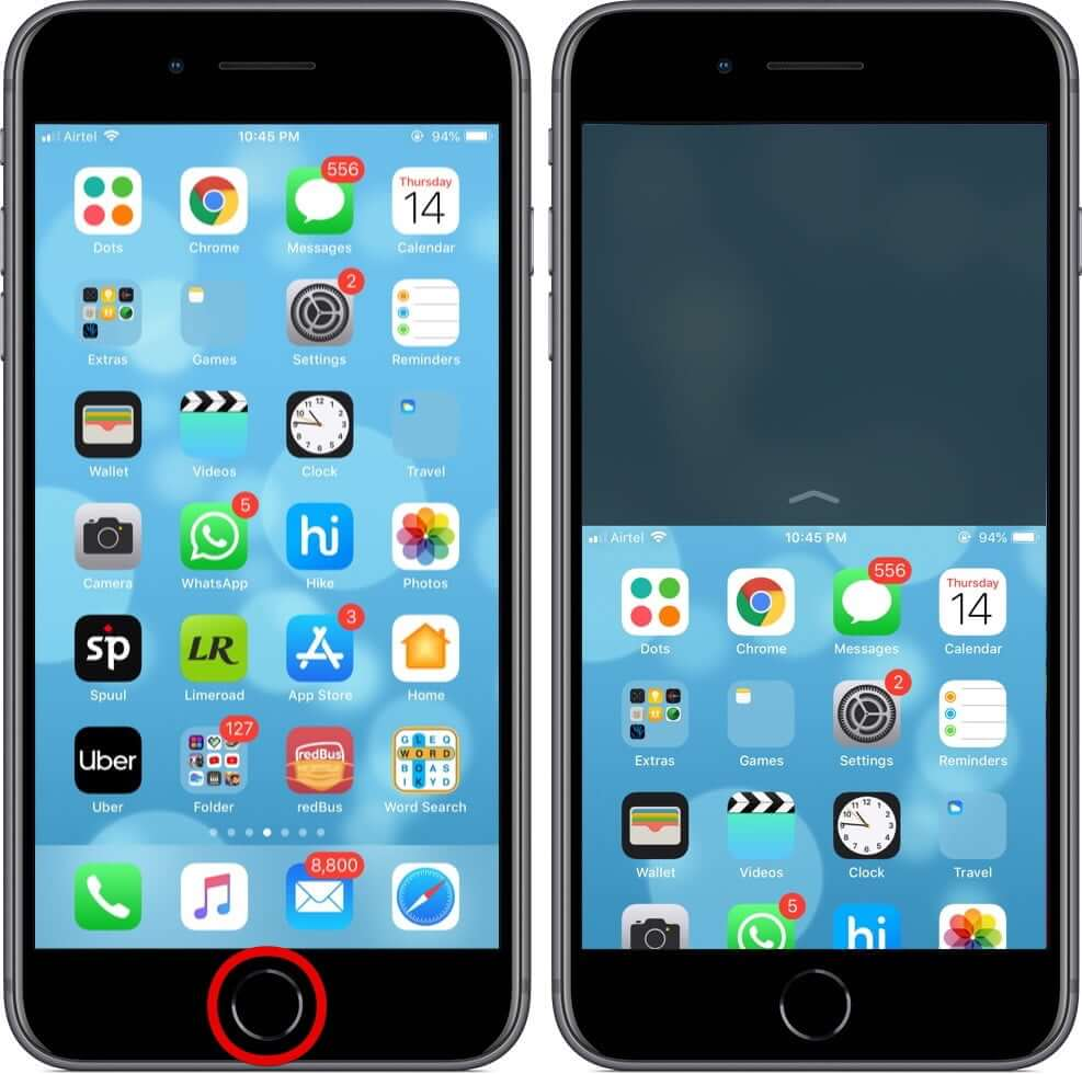 Use Reachability on iPhone with Touch ID
