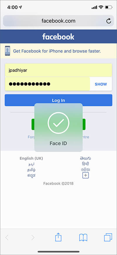 Use Safari Password AutoFill with Face ID on iPhone X