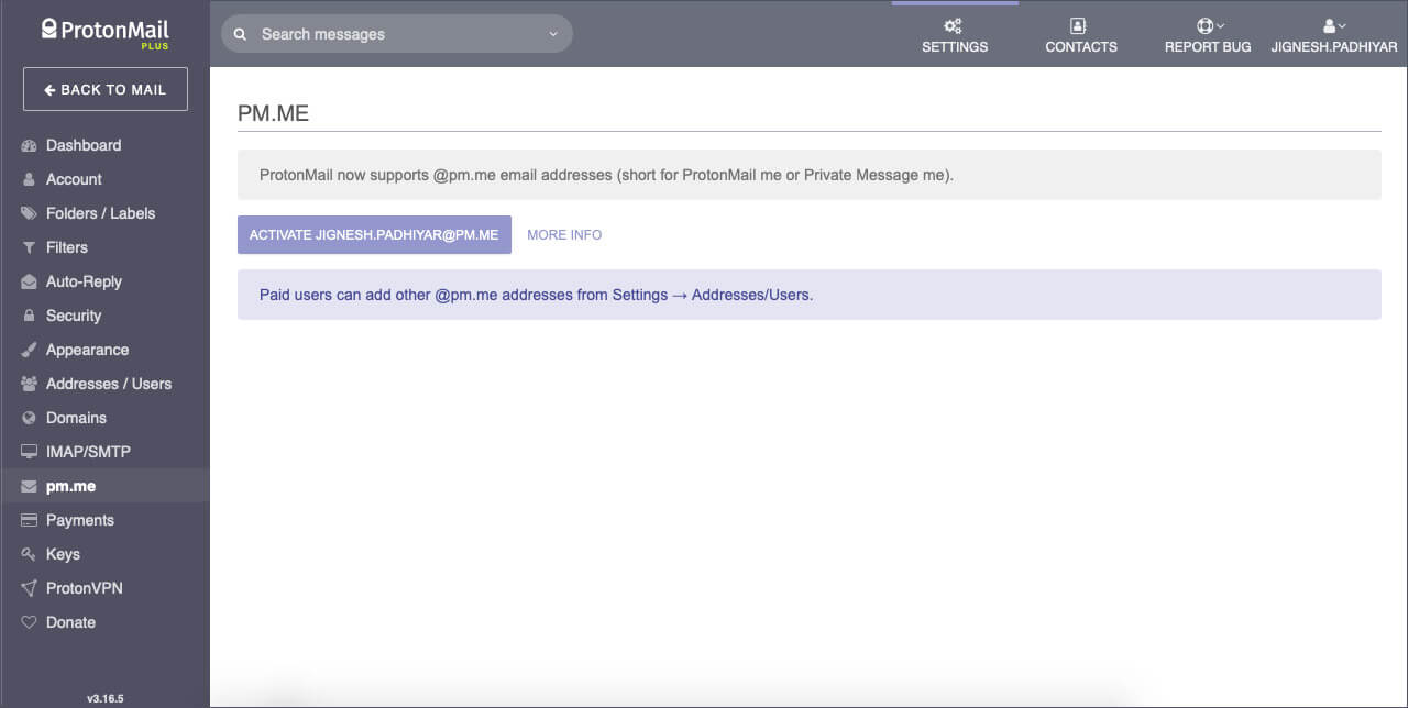 Use Shorten Email Address with ProtonMail