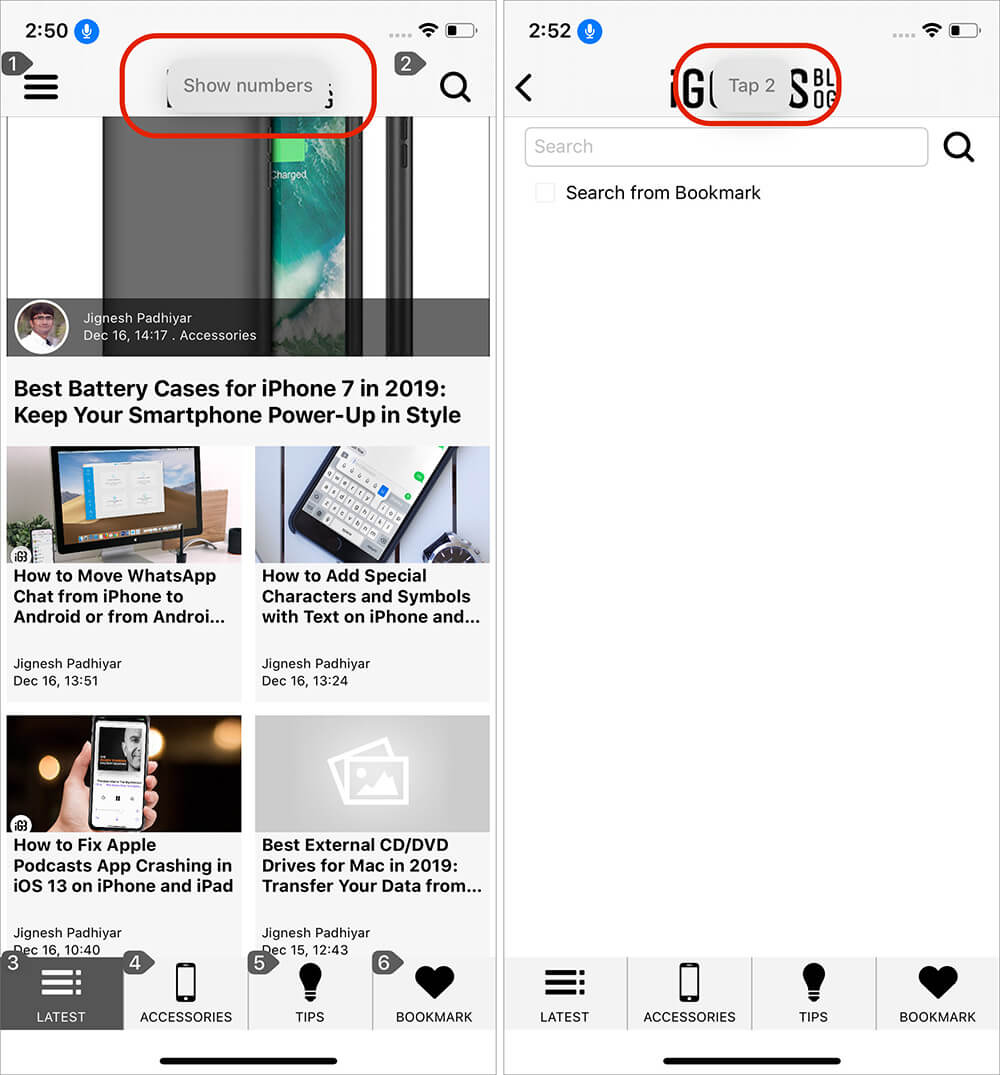 Use Show Numbers Voice Command on iPhone