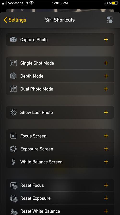 Use Siri Shortcuts in Camera-M App on iPhone