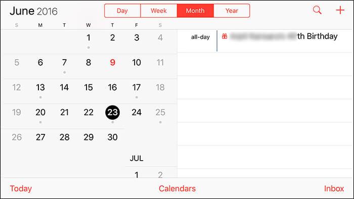Use Split Screen in iPhone 6-6s Plus Calendar App