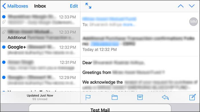 Use Split Screen in iPhone 6s Plus Mail App