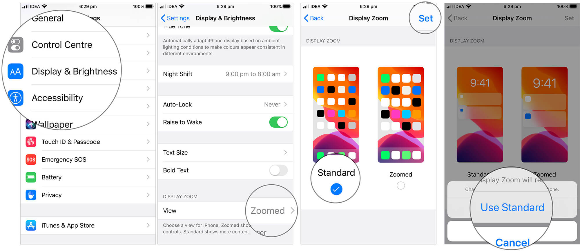 Use Standard option in Display Zoom for iPhone