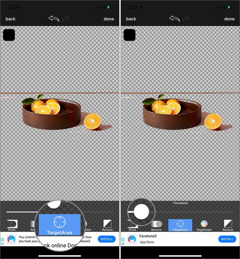 Use Target Area Tool to Remove Background of a Photo on iPhone with Background Eraser App