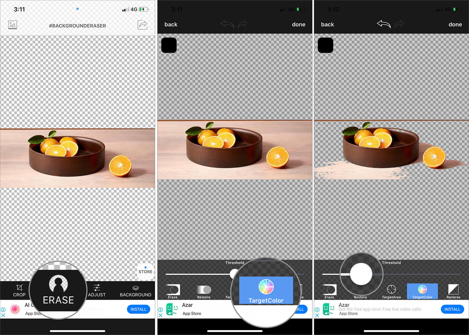 Use Target Color Tool to Remove Image Background on iPhone Background Eraser App