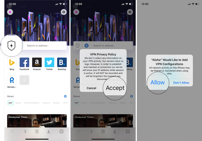Use VPN in Aloha iOS Browser