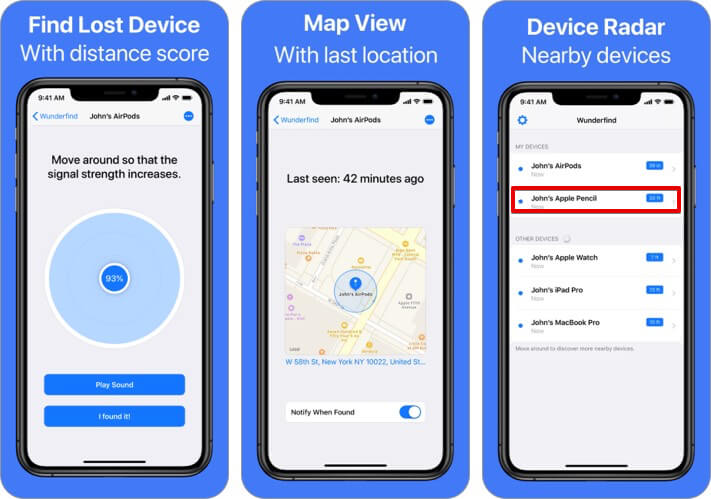 Use Wunderfind iOS app to find lost Apple Pencil