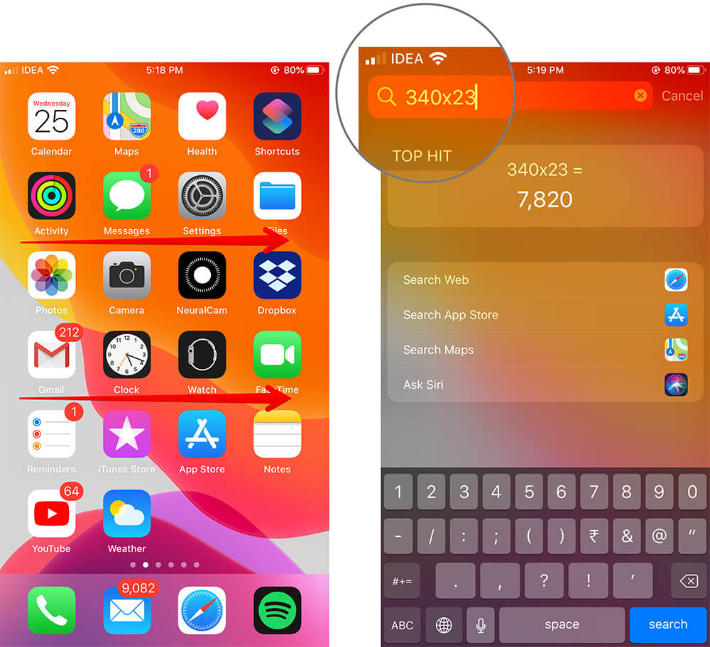 Use iPhone Search for Instant Calculation