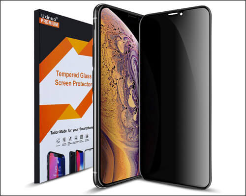 Uxinuo Privacy Tempered Glass Screen Protector for iPhone Xs Max
