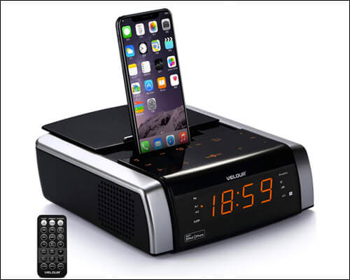 VELOUR iPhone 6 and 6 Plus Clock-Radio Docking Station
