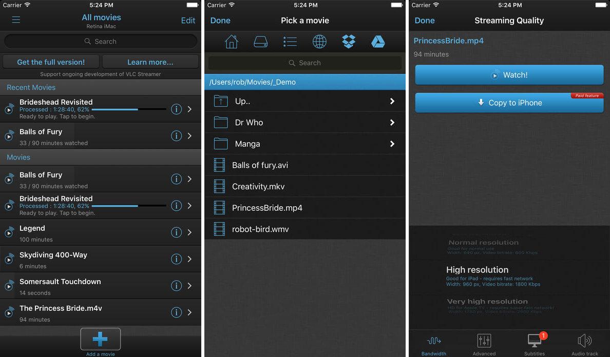 VLC Streamer Free iPad App Screenshot