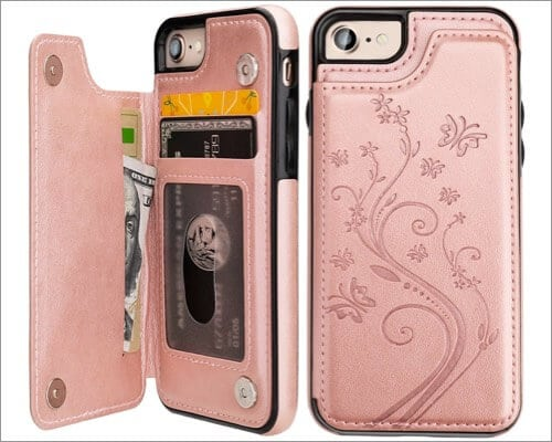 Vaburs Embossed Butterfly PU Leather Case for iPhone SE 2020