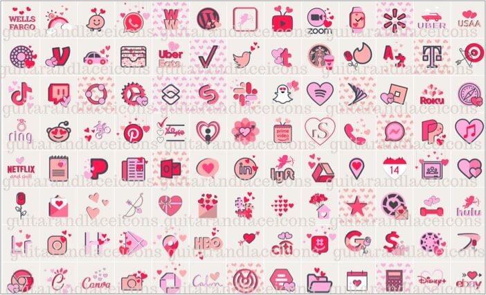 Valentines Day Aesthetic ios 14 App Icons
