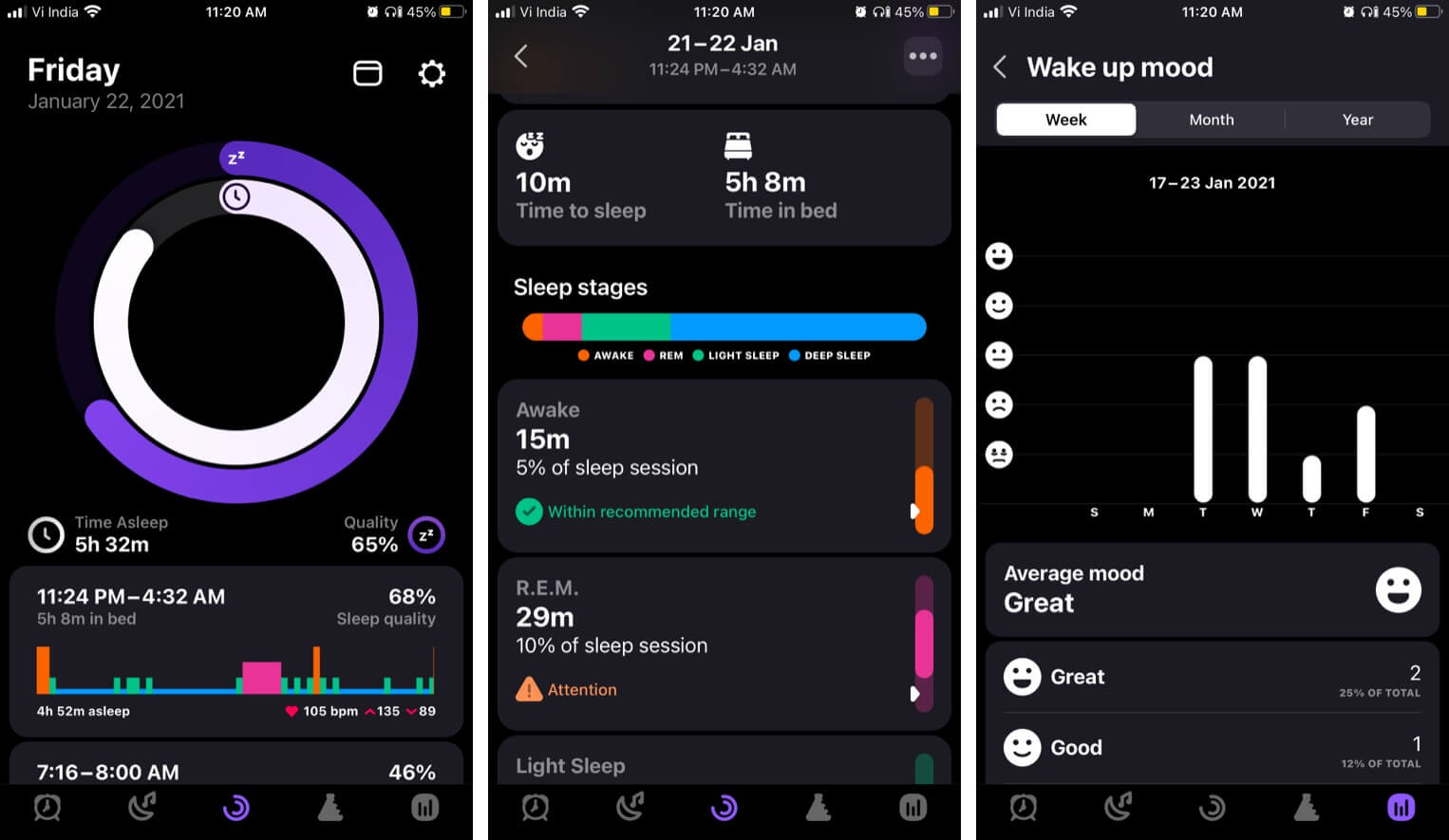 Valuable data about your sleep from Pillow app for iPhone
