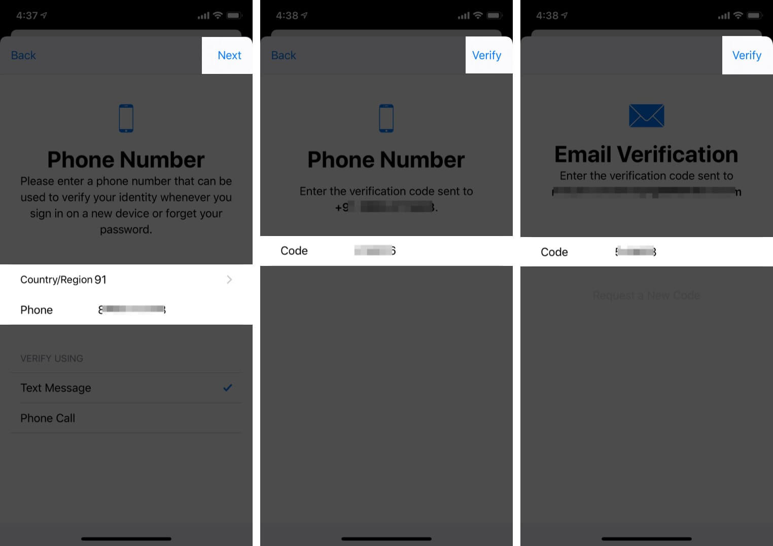 Verify phone number and mail ID by entering the six-digit code sent on iPhone