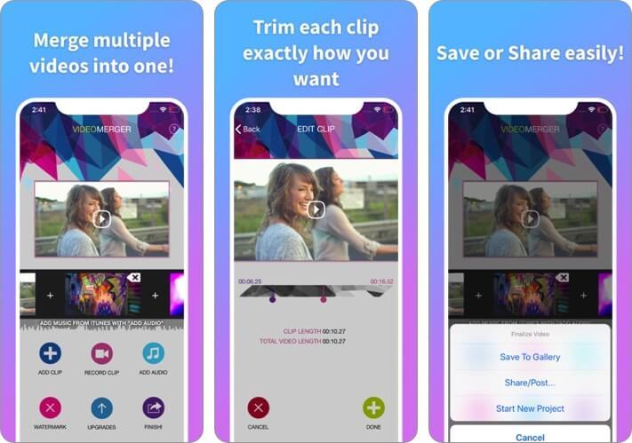 Video Merger iPhone and iPad App Screenshot