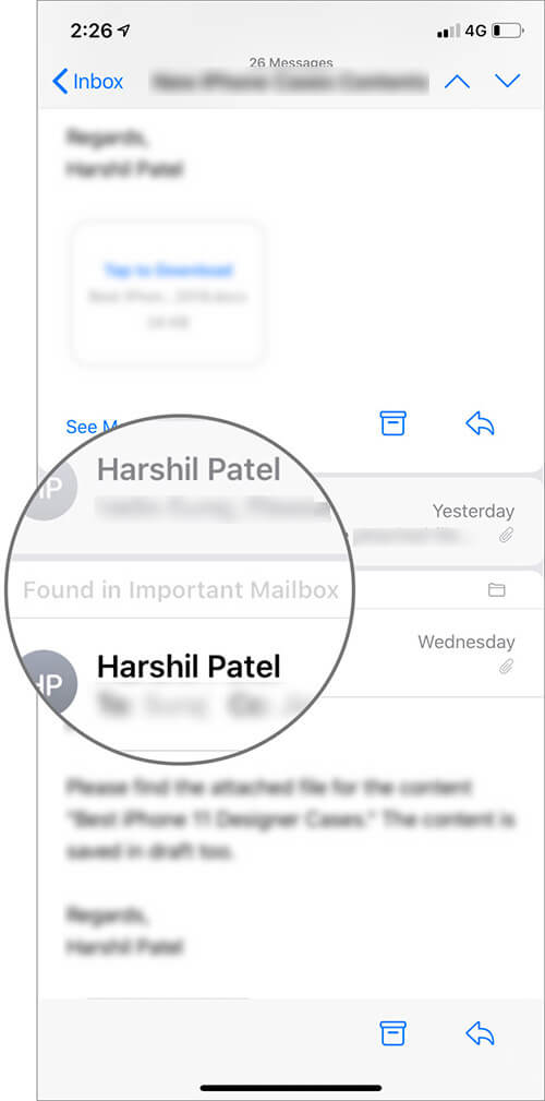 View All Messages Other than Primary Mail Box in Single Thread in iOS 13 Device