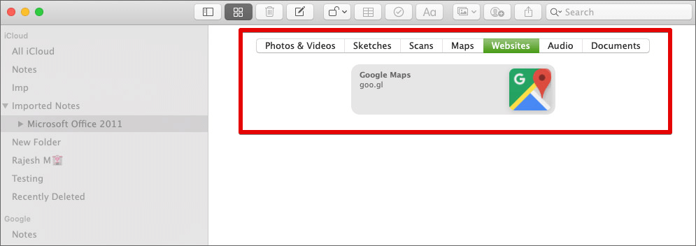 View Attachments from All Of Your Notes on Mac