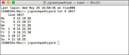 View Current Month for Next Year Using Terminal on Mac