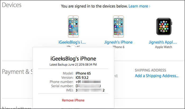View Detailed Information of iDevice Using Apple ID